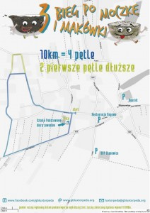 Mapka sytuacyjna przedstawiająca trasę oraz umiejscowienie parkingów